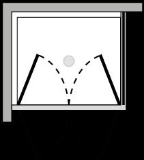 FR2P + FRFI : Double hinged door, fixed side panel (corner)