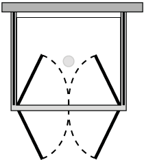 FR2P + FRFIX2 : Double hinged door, 2 fixed side panels (corner)