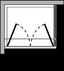 OM2P + OMFX : Double hinged door, fixed side panel (corner)