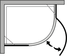 QBCC : Quadrant. Hinged door suitable for trays with a 38cm radius