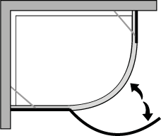 QBCL : Quadrant. Hinged door suitable for trays with a 38cm radius