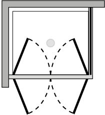 LB2P + LKFI : Double hinged door, fixed side panel (corner)