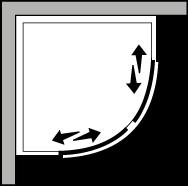 QSSC R55 : Quadrant. 2 sliding doors suitable for trays with a 55cm radius