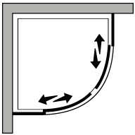 FRSC : Quadrant, with 2 sliding doors and a fixed side panel (corner)